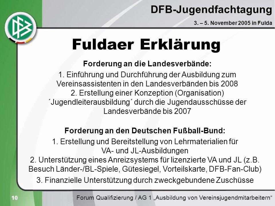 10 DFB-Jugendfachtagung Forum Qualifizierung / AG 1 Ausbildung von Vereinsjugendmitarbeitern 3. – 5. November 2005 in Fulda Fuldaer Erklärung Forderun