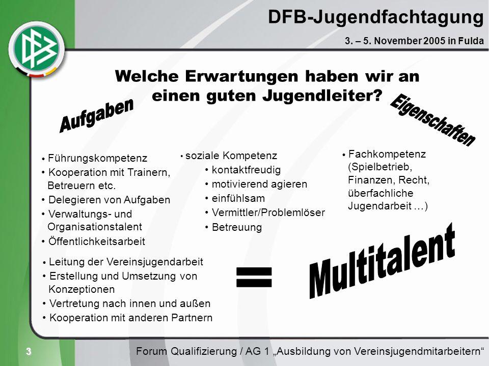 3 DFB-Jugendfachtagung Forum Qualifizierung / AG 1 Ausbildung von Vereinsjugendmitarbeitern 3. – 5. November 2005 in Fulda Welche Erwartungen haben wi