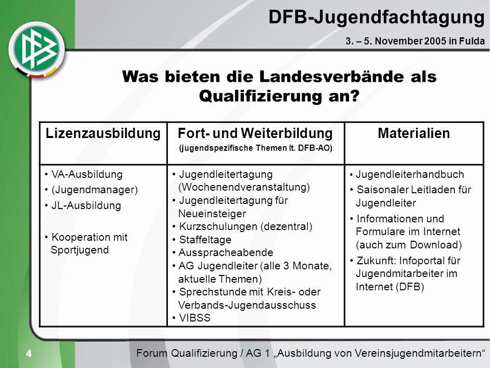 4 DFB-Jugendfachtagung Forum Qualifizierung / AG 1 Ausbildung von Vereinsjugendmitarbeitern 3. – 5. November 2005 in Fulda Was bieten die Landesverbän