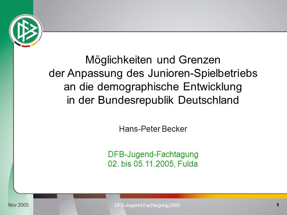 1 DFB-Jugend-Fachtagung 2005 Nov 2005 Möglichkeiten und Grenzen der Anpassung des Junioren-Spielbetriebs an die demographische Entwicklung in der Bund