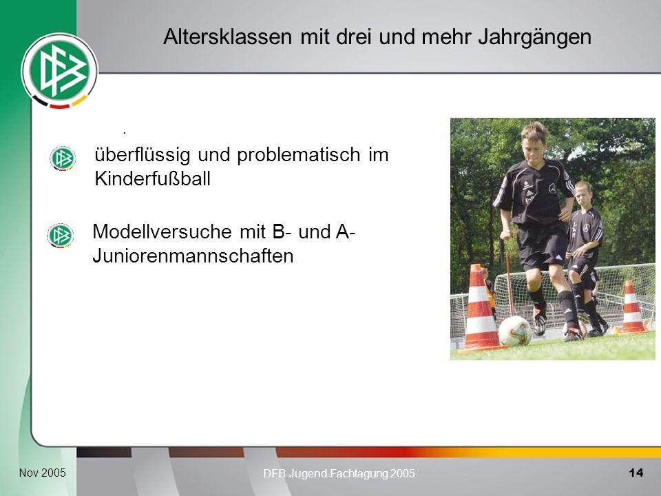14 DFB-Jugend-Fachtagung 2005 Nov 2005. Altersklassen mit drei und mehr Jahrgängen überflüssig und problematisch im Kinderfußball Modellversuche mit B