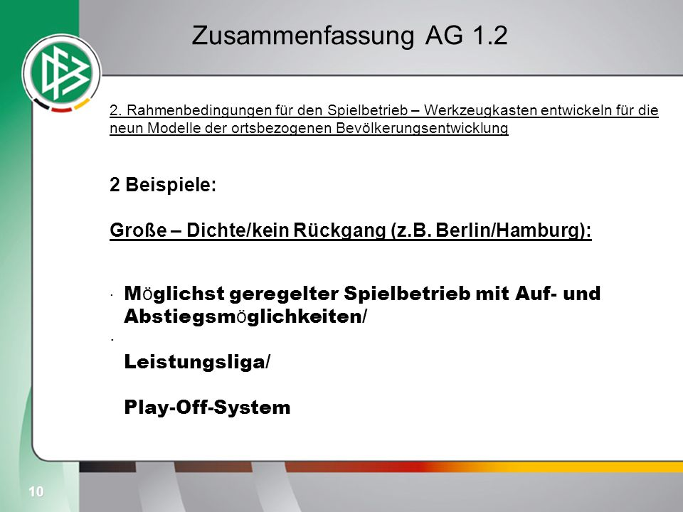10 Zusammenfassung AG 1.2 2. Rahmenbedingungen für den Spielbetrieb – Werkzeugkasten entwickeln für die neun Modelle der ortsbezogenen Bevölkerungsent