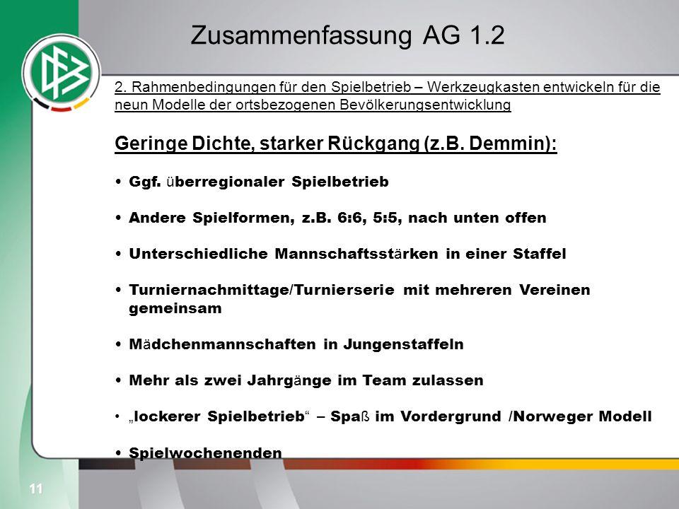 11 Zusammenfassung AG 1.2 2. Rahmenbedingungen für den Spielbetrieb – Werkzeugkasten entwickeln für die neun Modelle der ortsbezogenen Bevölkerungsent