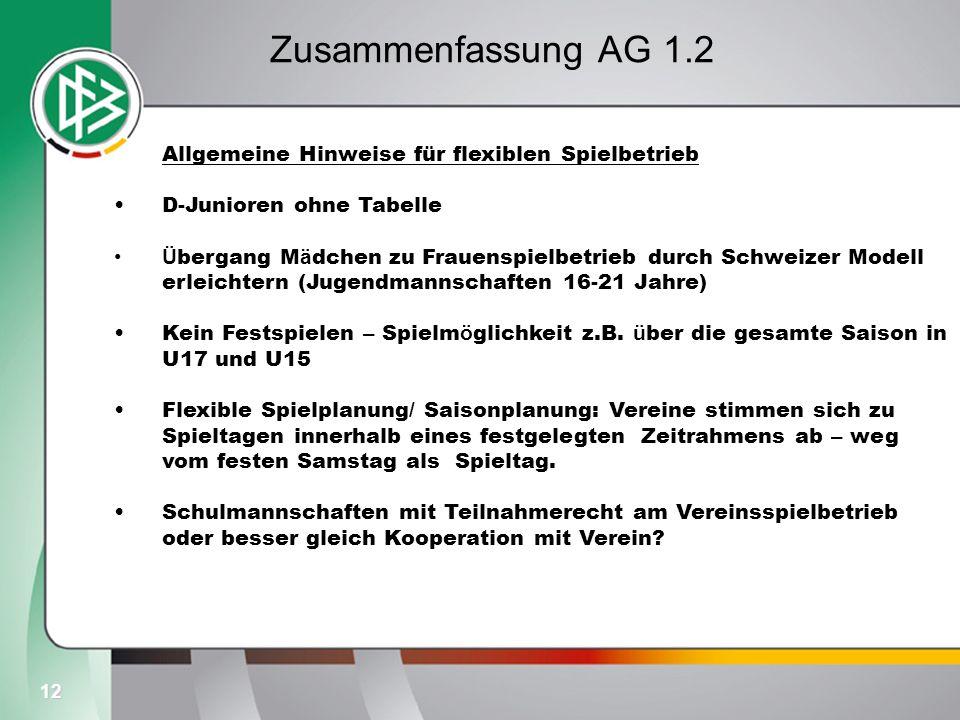 12 Zusammenfassung AG 1.2 Allgemeine Hinweise für flexiblen Spielbetrieb D-Junioren ohne Tabelle Ü bergang M ä dchen zu Frauenspielbetrieb durch Schwe