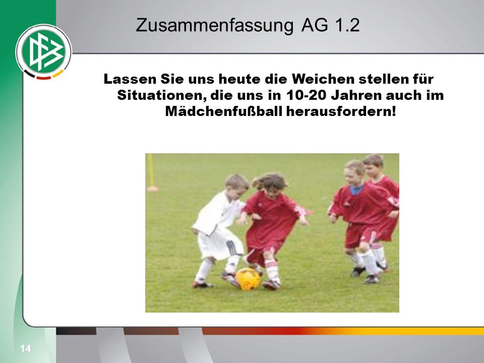 14 Zusammenfassung AG 1.2 Lassen Sie uns heute die Weichen stellen für Situationen, die uns in 10-20 Jahren auch im Mädchenfußball herausfordern!