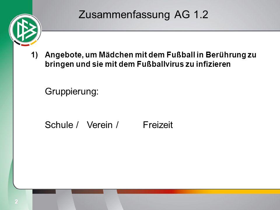 2 Zusammenfassung AG 1.2 1)Angebote, um Mädchen mit dem Fußball in Berührung zu bringen und sie mit dem Fußballvirus zu infizieren Gruppierung: Schule / Verein / Freizeit