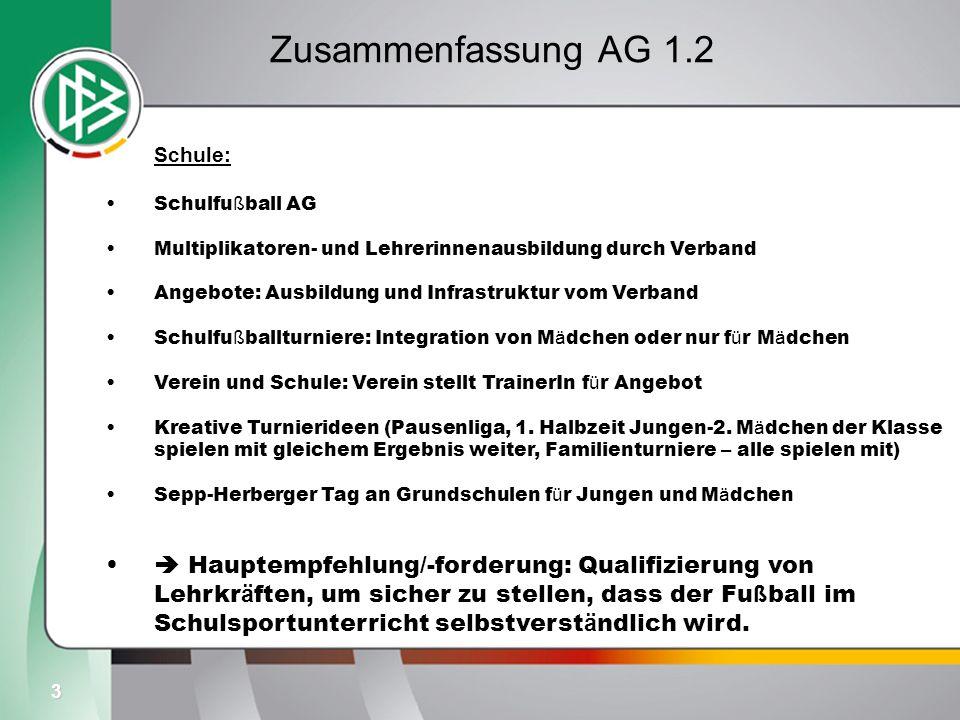 3 Zusammenfassung AG 1.2 Schule: Schulfu ß ball AG Multiplikatoren- und Lehrerinnenausbildung durch Verband Angebote: Ausbildung und Infrastruktur vom