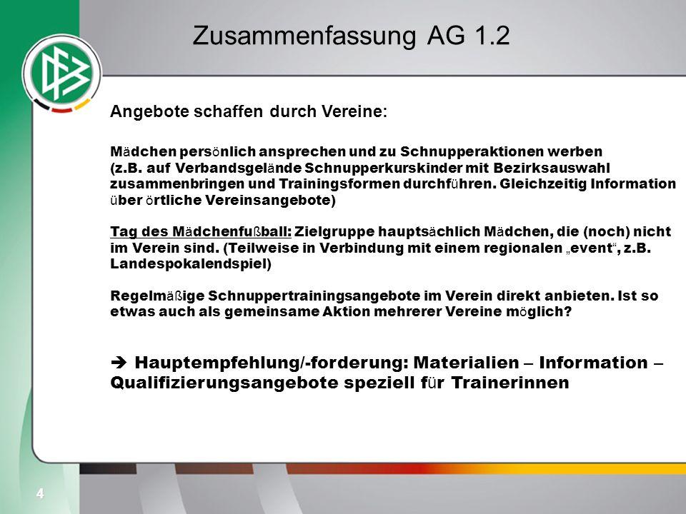 4 Zusammenfassung AG 1.2 Angebote schaffen durch Vereine: M ä dchen pers ö nlich ansprechen und zu Schnupperaktionen werben (z.B. auf Verbandsgel ä nd