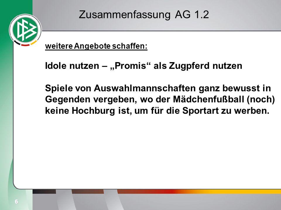 6 Zusammenfassung AG 1.2 weitere Angebote schaffen: Idole nutzen – Promis als Zugpferd nutzen Spiele von Auswahlmannschaften ganz bewusst in Gegenden vergeben, wo der Mädchenfußball (noch) keine Hochburg ist, um für die Sportart zu werben.