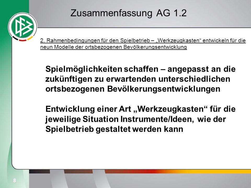 8 Zusammenfassung AG 1.2 2. Rahmenbedingungen für den Spielbetrieb – Werkzeugkasten entwickeln für die neun Modelle der ortsbezogenen Bevölkerungsentw