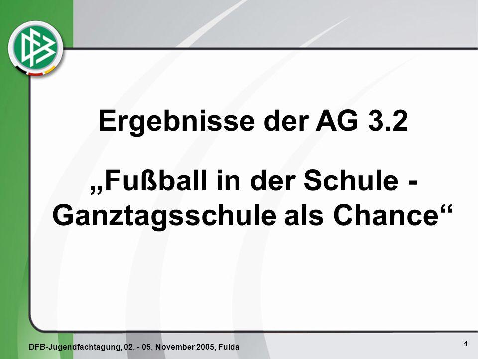 1 Ergebnisse der AG 3.2 Fußball in der Schule - Ganztagsschule als Chance DFB-Jugendfachtagung, 02.