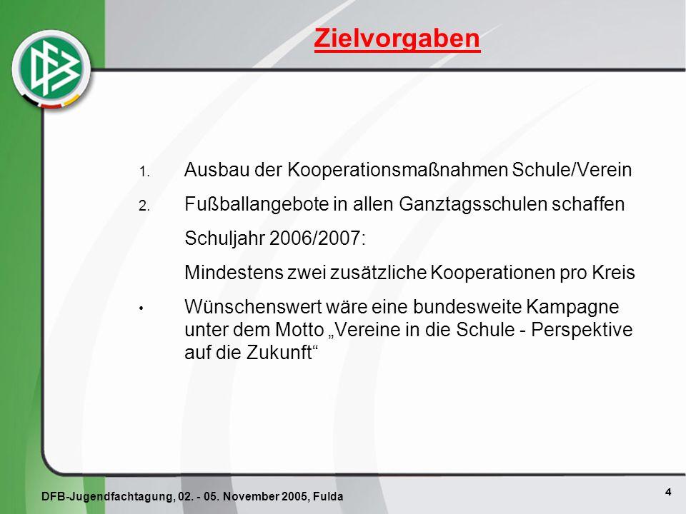 4 Zielvorgaben 1. Ausbau der Kooperationsmaßnahmen Schule/Verein 2.