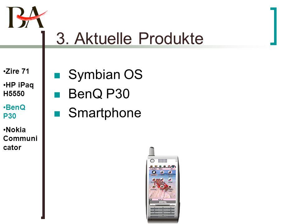 3. Aktuelle Produkte Symbian OS BenQ P30 Smartphone Zire 71 HP iPaq H5550 BenQ P30 Nokia Communi cator