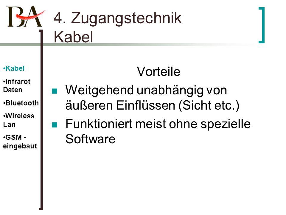 4. Zugangstechnik Kabel Vorteile Weitgehend unabhängig von äußeren Einflüssen (Sicht etc.) Funktioniert meist ohne spezielle Software Kabel Infrarot D