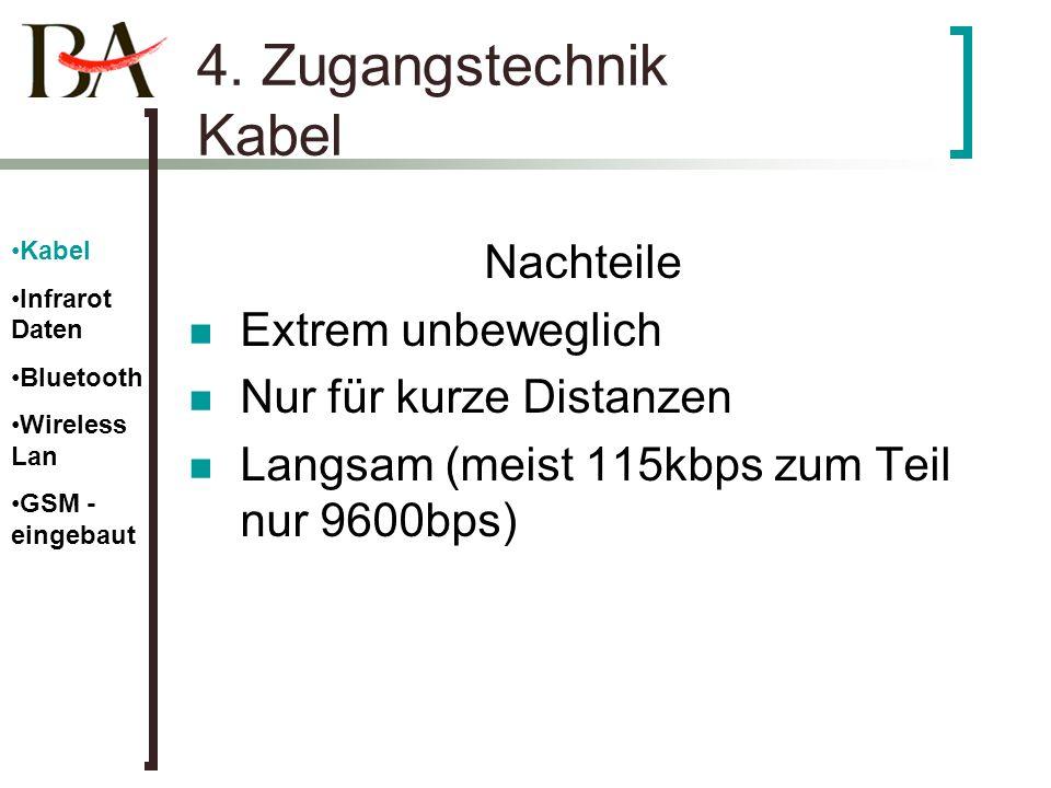 4. Zugangstechnik Kabel Nachteile Extrem unbeweglich Nur für kurze Distanzen Langsam (meist 115kbps zum Teil nur 9600bps) Kabel Infrarot Daten Bluetoo