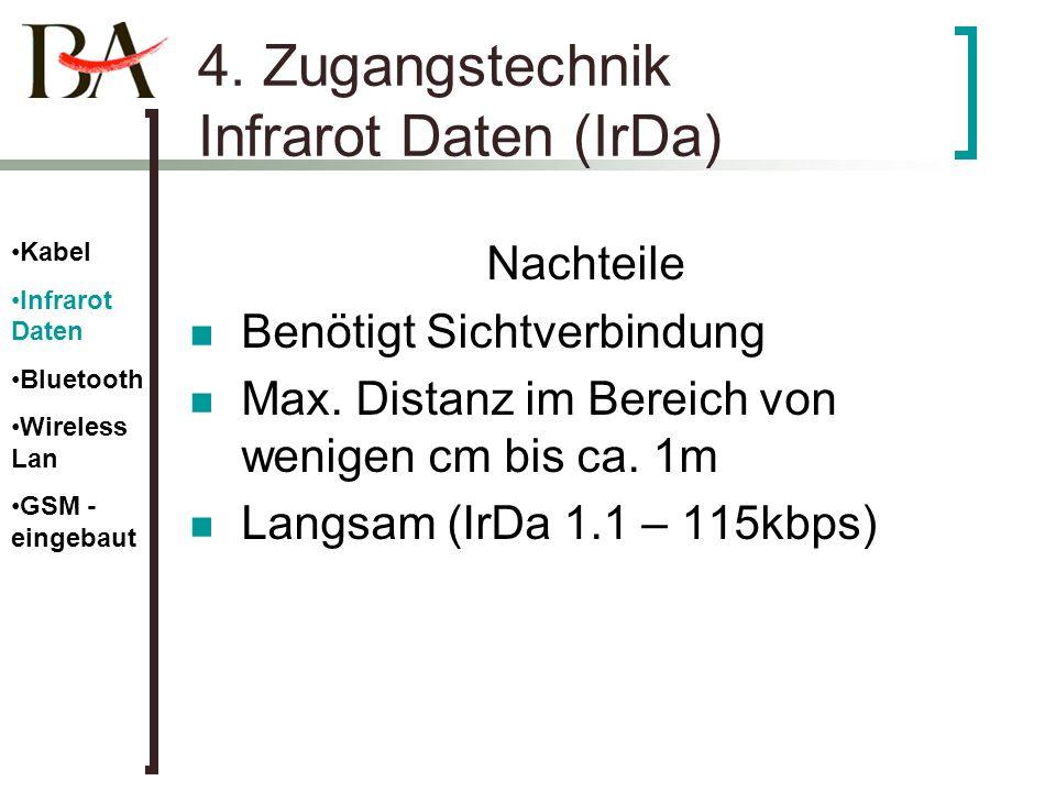 4. Zugangstechnik Infrarot Daten (IrDa) Nachteile Benötigt Sichtverbindung Max. Distanz im Bereich von wenigen cm bis ca. 1m Langsam (IrDa 1.1 – 115kb