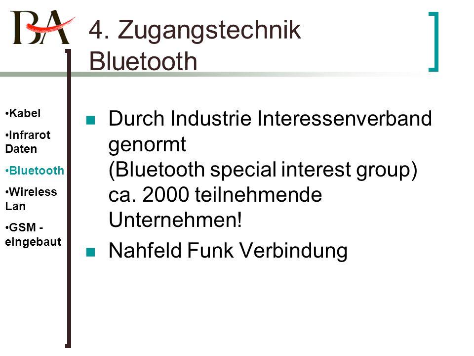 4. Zugangstechnik Bluetooth Durch Industrie Interessenverband genormt (Bluetooth special interest group) ca. 2000 teilnehmende Unternehmen! Nahfeld Fu
