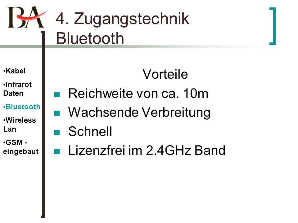 4. Zugangstechnik Bluetooth Vorteile Reichweite von ca. 10m Wachsende Verbreitung Schnell Lizenzfrei im 2.4GHz Band Kabel Infrarot Daten Bluetooth Wir
