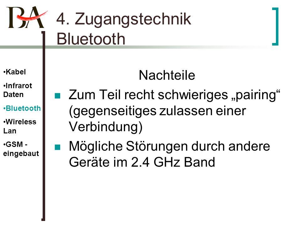 4. Zugangstechnik Bluetooth Nachteile Zum Teil recht schwieriges pairing (gegenseitiges zulassen einer Verbindung) Mögliche Störungen durch andere Ger