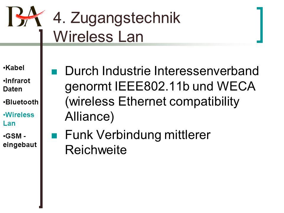 4. Zugangstechnik Wireless Lan Durch Industrie Interessenverband genormt IEEE802.11b und WECA (wireless Ethernet compatibility Alliance) Funk Verbindu