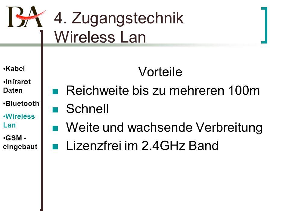 4. Zugangstechnik Wireless Lan Vorteile Reichweite bis zu mehreren 100m Schnell Weite und wachsende Verbreitung Lizenzfrei im 2.4GHz Band Kabel Infrar