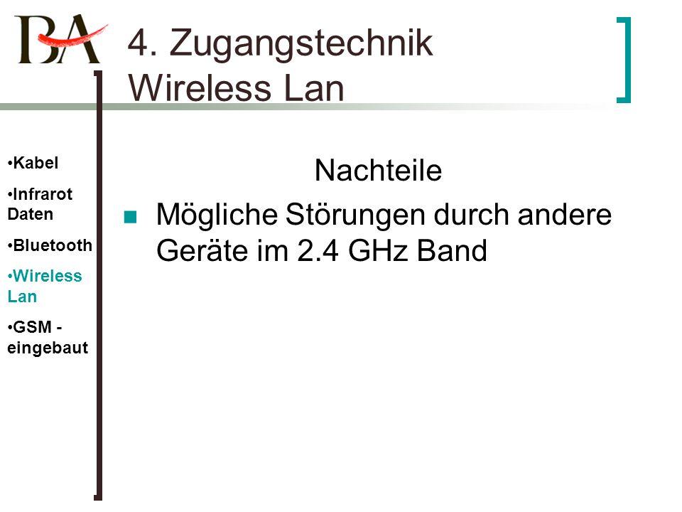 4. Zugangstechnik Wireless Lan Nachteile Mögliche Störungen durch andere Geräte im 2.4 GHz Band Kabel Infrarot Daten Bluetooth Wireless Lan GSM - eing