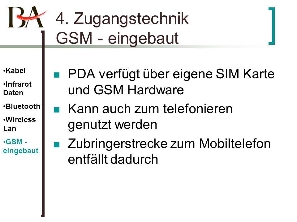 4. Zugangstechnik GSM - eingebaut PDA verfügt über eigene SIM Karte und GSM Hardware Kann auch zum telefonieren genutzt werden Zubringerstrecke zum Mo