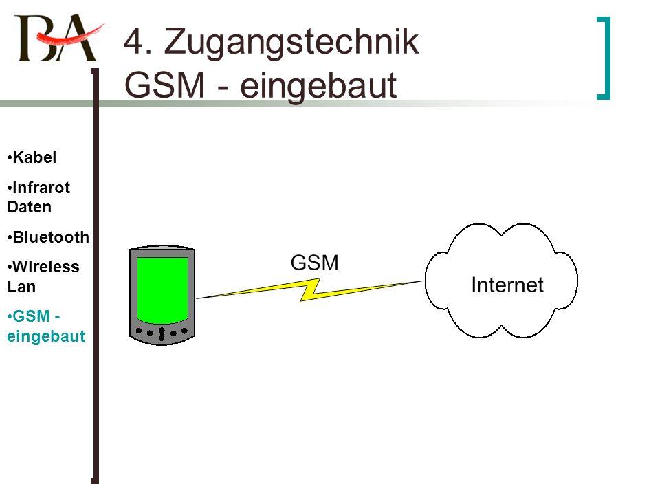 4. Zugangstechnik GSM - eingebaut Kabel Infrarot Daten Bluetooth Wireless Lan GSM - eingebaut