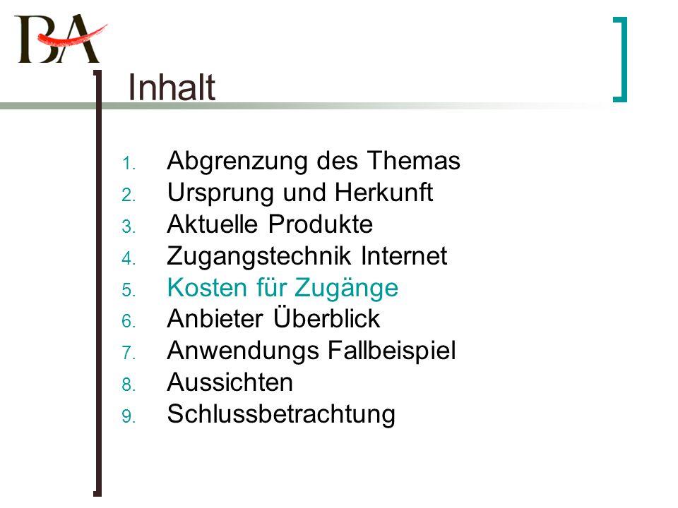 Inhalt 1. Abgrenzung des Themas 2. Ursprung und Herkunft 3. Aktuelle Produkte 4. Zugangstechnik Internet 5. Kosten für Zugänge 6. Anbieter Überblick 7