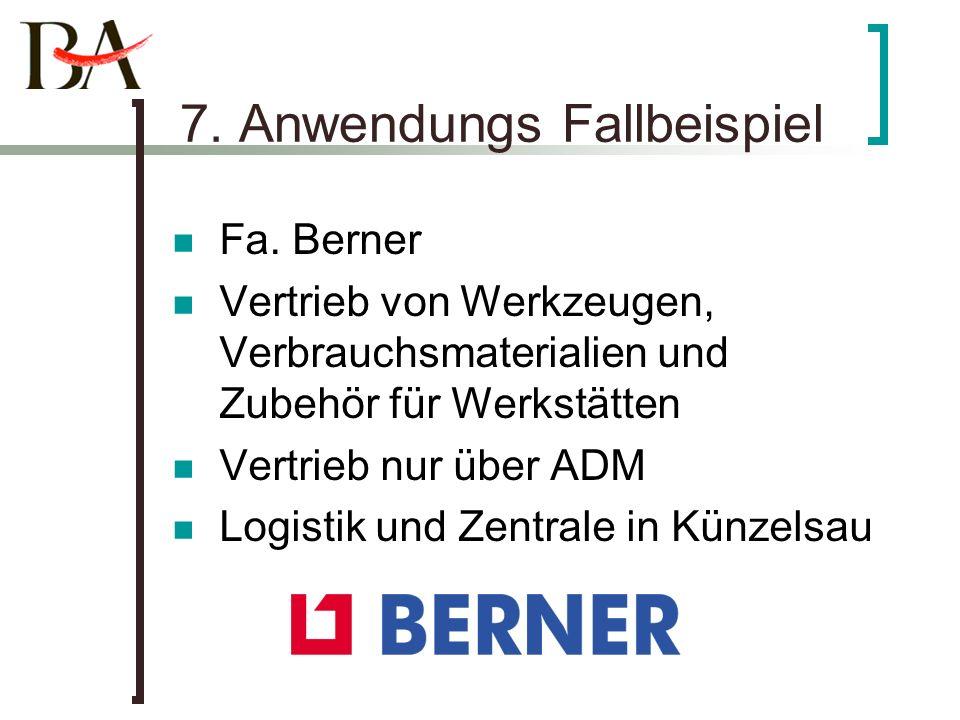 7. Anwendungs Fallbeispiel Fa. Berner Vertrieb von Werkzeugen, Verbrauchsmaterialien und Zubehör für Werkstätten Vertrieb nur über ADM Logistik und Ze