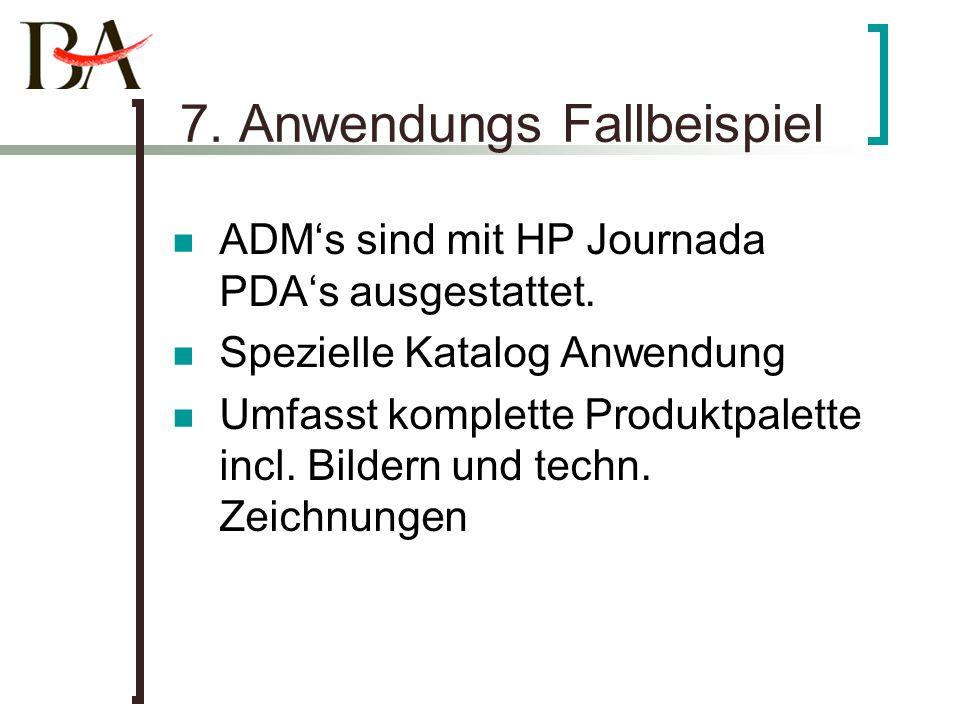 7. Anwendungs Fallbeispiel ADMs sind mit HP Journada PDAs ausgestattet. Spezielle Katalog Anwendung Umfasst komplette Produktpalette incl. Bildern und