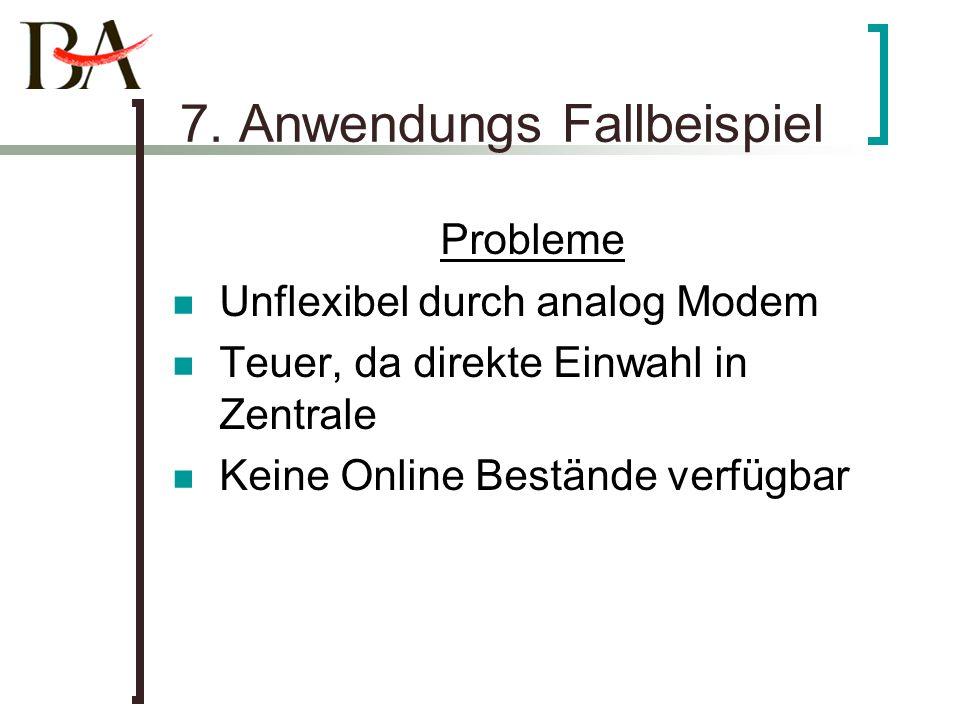 7. Anwendungs Fallbeispiel Probleme Unflexibel durch analog Modem Teuer, da direkte Einwahl in Zentrale Keine Online Bestände verfügbar