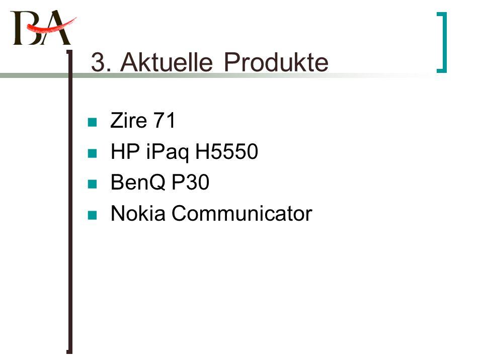 3. Aktuelle Produkte Zire 71 HP iPaq H5550 BenQ P30 Nokia Communicator