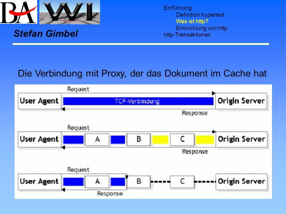 Einführung Definition hypertext Was ist http? Entwicklung von http http-Transaktionen Stefan Gimbel Direkte Verbindung zwischen User Agent und Origin