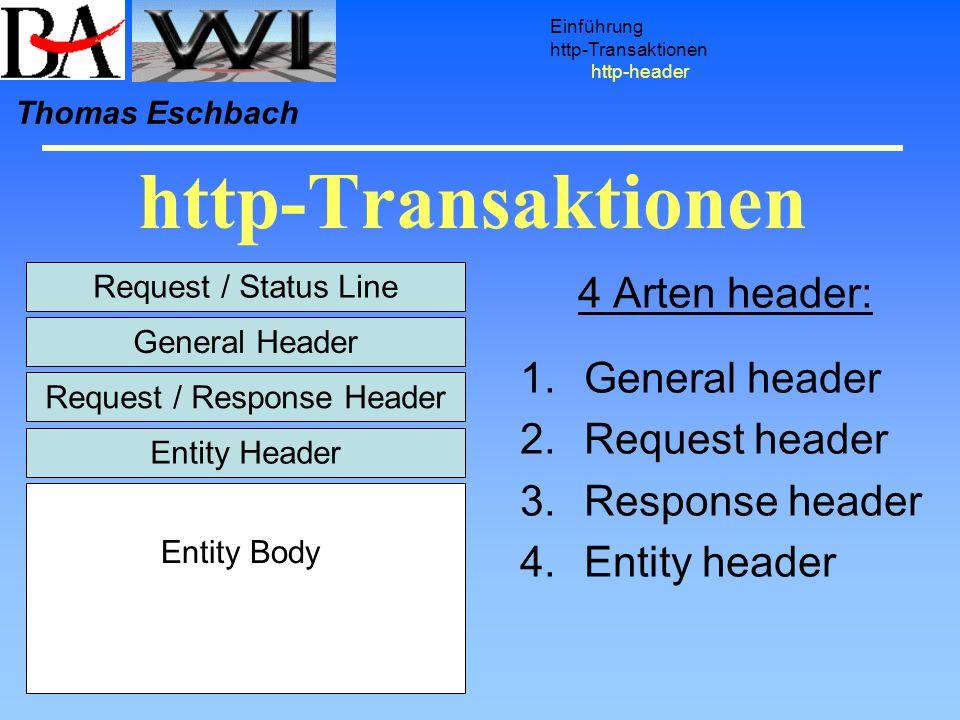 http-Transaktionen Einführung http-Transaktionen http-header Thomas Eschbach Request / Status Line General Header Request / Response Header Entity Hea