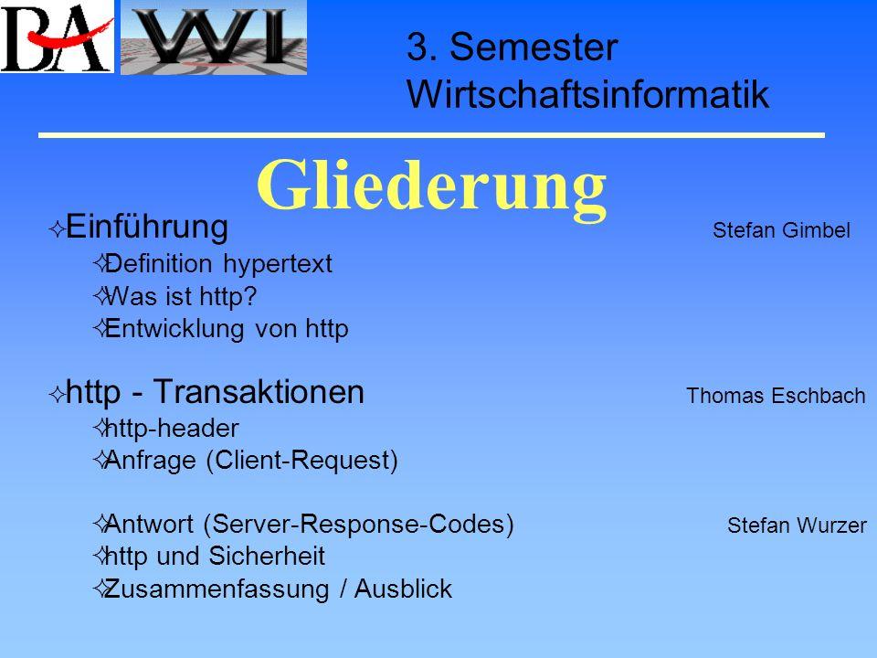 Gliederung Einführung Stefan Gimbel Definition hypertext Was ist http? Entwicklung von http http - Transaktionen Thomas Eschbach http-header Anfrage (