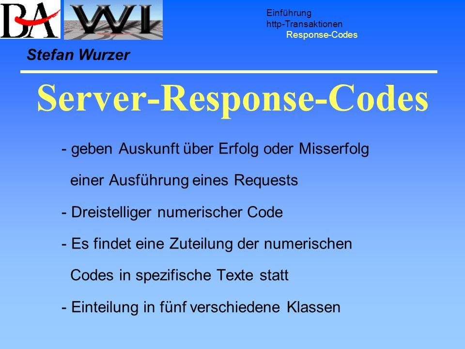 Server-Response-Codes Einführung http-Transaktionen Response-Codes - geben Auskunft über Erfolg oder Misserfolg einer Ausführung eines Requests - Drei