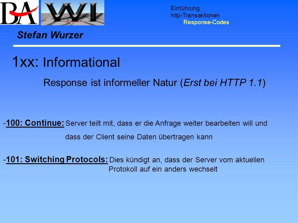 Einführung http-Transaktionen Response-Codes 1xx: Informational Response ist informeller Natur (Erst bei HTTP 1.1) Stefan Wurzer -100: Continue: Serve