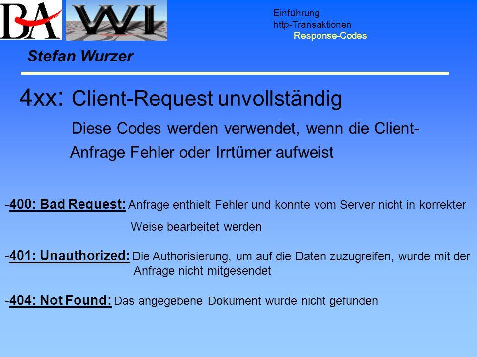 Einführung http-Transaktionen Response-Codes Stefan Wurzer -400: Bad Request: Anfrage enthielt Fehler und konnte vom Server nicht in korrekter Weise b