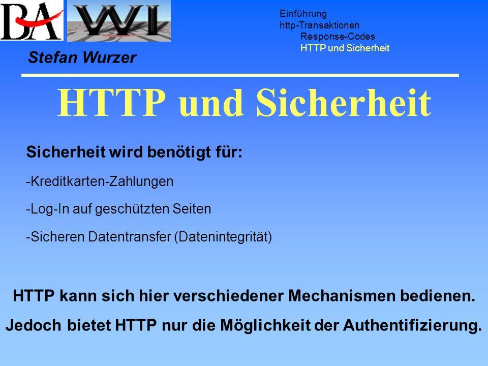 HTTP und Sicherheit Einführung http-Transaktionen Response-Codes HTTP und Sicherheit Sicherheit wird benötigt für: -Kreditkarten-Zahlungen -Log-In auf