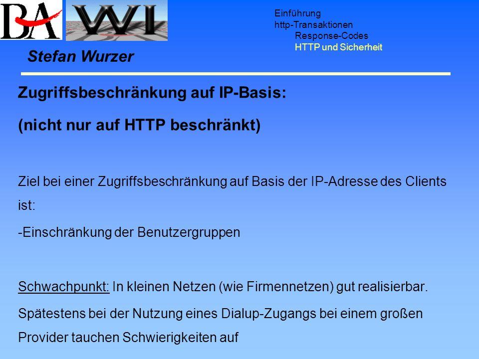 Einführung http-Transaktionen Response-Codes HTTP und Sicherheit Zugriffsbeschränkung auf IP-Basis: (nicht nur auf HTTP beschränkt) Ziel bei einer Zug