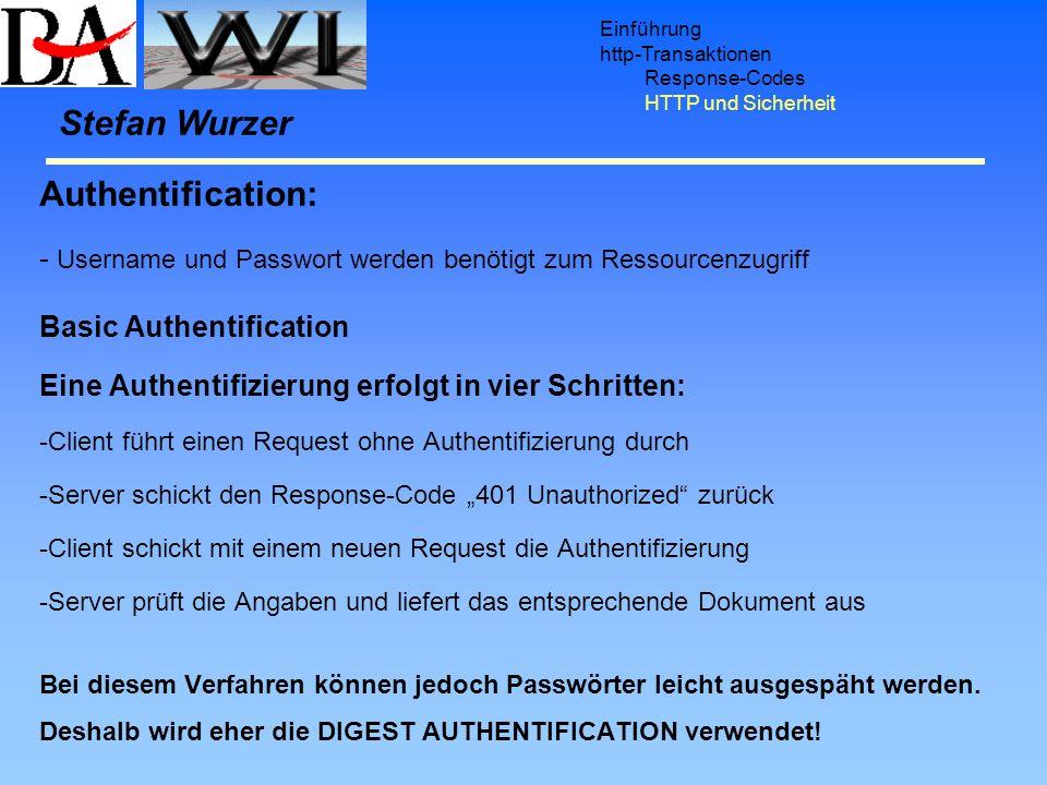 Einführung http-Transaktionen Response-Codes HTTP und Sicherheit Authentification: - Username und Passwort werden benötigt zum Ressourcenzugriff Basic