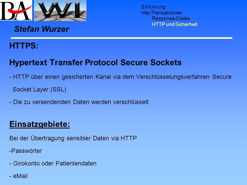 Einführung http-Transaktionen Response-Codes HTTP und Sicherheit HTTPS: Hypertext Transfer Protocol Secure Sockets - HTTP über einen gesicherten Kanal