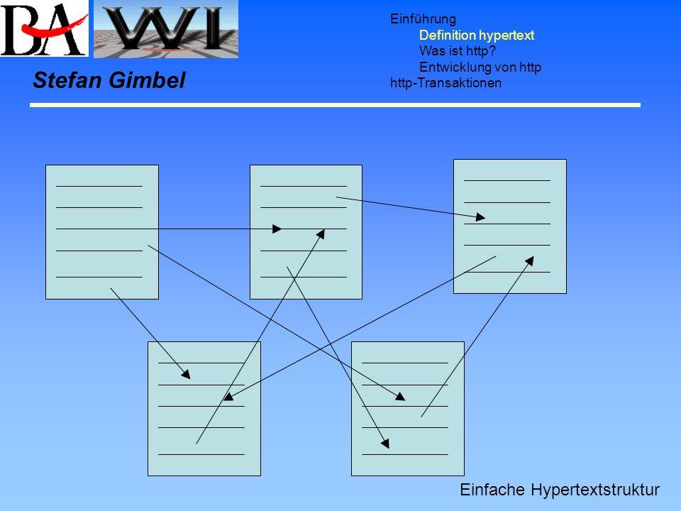 Einführung Definition hypertext Was ist http? Entwicklung von http http-Transaktionen Stefan Gimbel Einfache Hypertextstruktur