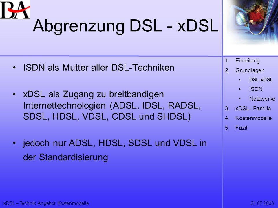 xDSL – Technik, Angebot, Kostenmodelle21.07.2003 Abgrenzung DSL - xDSL ISDN als Mutter aller DSL-Techniken xDSL als Zugang zu breitbandigen Internette