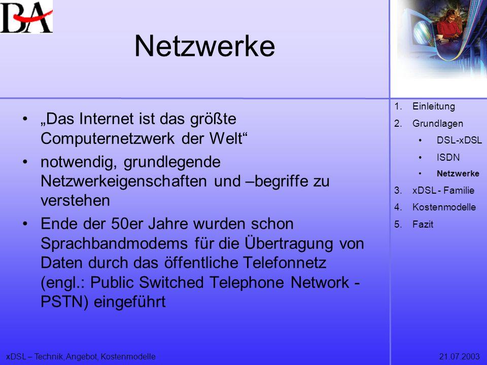 xDSL – Technik, Angebot, Kostenmodelle21.07.2003 Netzwerke Das Internet ist das größte Computernetzwerk der Welt notwendig, grundlegende Netzwerkeigen
