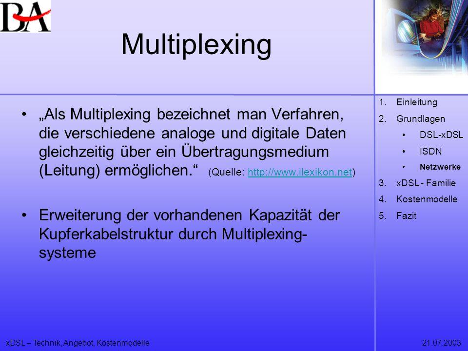 xDSL – Technik, Angebot, Kostenmodelle21.07.2003 Multiplexing Als Multiplexing bezeichnet man Verfahren, die verschiedene analoge und digitale Daten g
