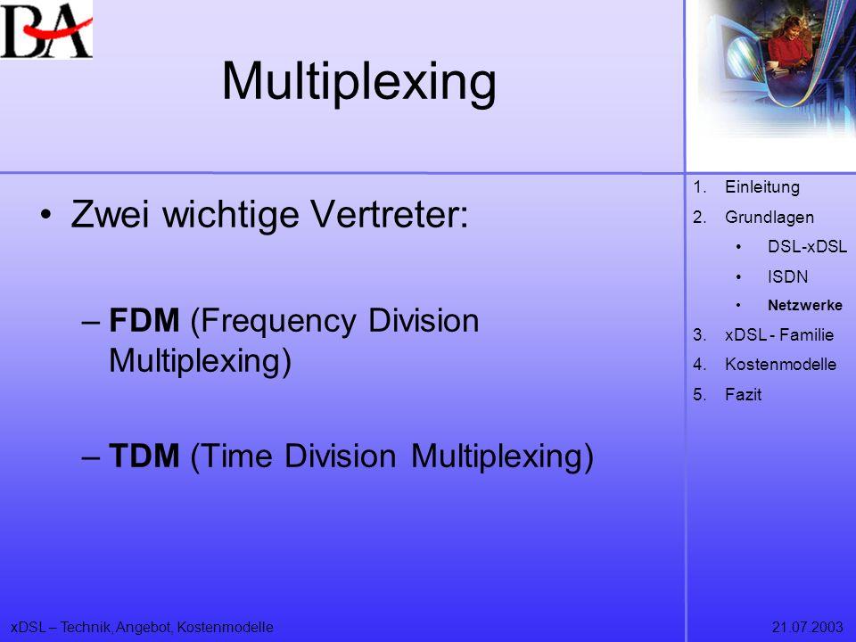 xDSL – Technik, Angebot, Kostenmodelle21.07.2003 Multiplexing Zwei wichtige Vertreter: –FDM (Frequency Division Multiplexing) –TDM (Time Division Mult