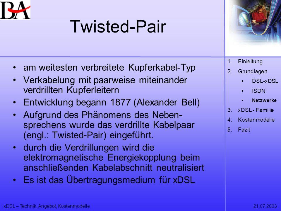 xDSL – Technik, Angebot, Kostenmodelle21.07.2003 Twisted-Pair am weitesten verbreitete Kupferkabel-Typ Verkabelung mit paarweise miteinander verdrillt