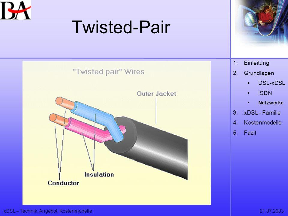 xDSL – Technik, Angebot, Kostenmodelle21.07.2003 Twisted-Pair 1.Einleitung 2.Grundlagen DSL-xDSL ISDN Netzwerke 3.xDSL - Familie 4.Kostenmodelle 5.Faz